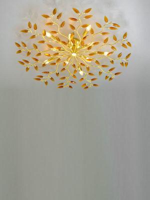 Plafoniera Crystallivs 10 luci con struttura in metallo ottonato - 2089