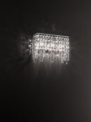 Applique Frangia rettangolare con struttura in acciaio inox lucidato a specchio