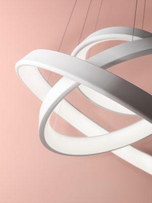 Sospensione Anelli Diodi tripla in alluminio
