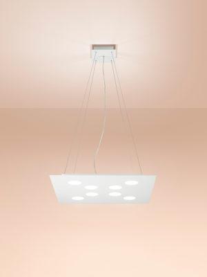 Sospensione in alluminio Flet 8 luci + 2 luci verso soffitto