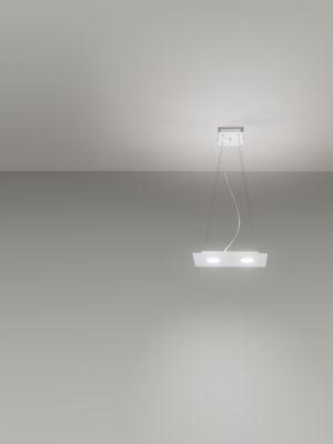 Sospensione in alluminio Flet rettangolare 2 luci + 1 luce verso soffitto