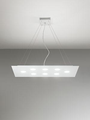 Sospensione in alluminio Flet rettangolare 8 luci + 2 luci verso soffitto