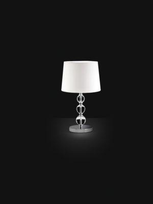 Lampada da tavolo Crystalball grande con sfere in vetro pieno e paralume in tessuto